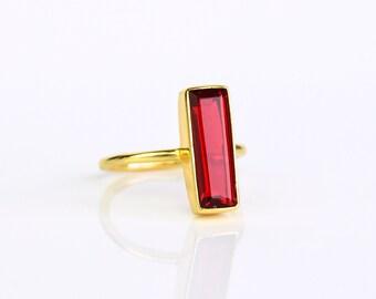 Garnet Bar Ring, January Birthstone Ring, Geometric Ring Modern Ring, Gemstone Bar Ring, Vertical Bar Ring January Birthday gift, Adira Ring