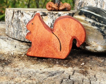 Woodland Squirrel Wooden Toy - Natural Eco Friendly Waldorf Wood Toy