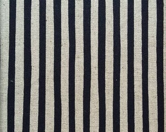 Japanese Sevenberry fabric - Linen & cotton - black and cream stripes - by 50 cm (110 x)