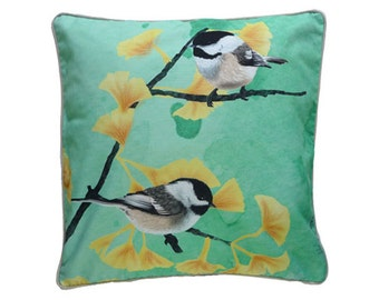 Cushion cover for throw pillow with bird - Chickadees mint - 16x16inch // 40x40cm