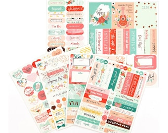 My Prima Planner BE HAPPY Stickers Pack 191pc Pink Gold Foil Accents Prima Marketing 593100