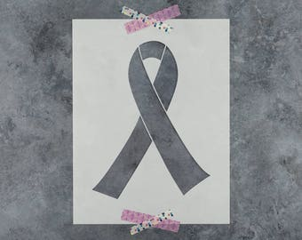Breast Cancer Ribbon Stencil - Reusable DIY Craft Stencils of a Breast Cancer Ribbon