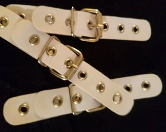 Applique for sew faux white shiny leather
