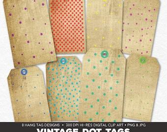 Digital Collage Sheet • Vintage Polka Dots Printable Hang Tags• 8 Instant Download Hangtag & Gift Tag Designs • JPG PNG