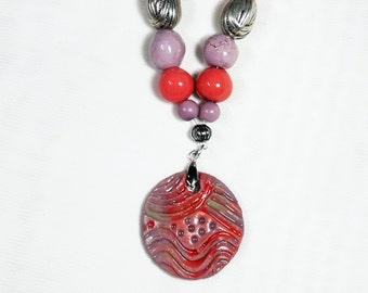 Red and purple ceramic necklace