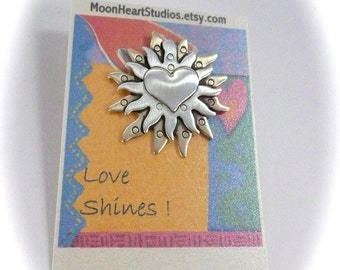 Sun jewelry ,Heart jewelry , Spirit art , Nurses gift, women jewelry , Love