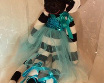 Black and White Sock Monkey Ballerina~Aqua and Black Sock Monkey