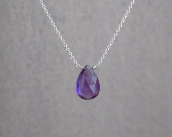 Amethyst Necklace - Sterling Silver or Gold Filled - February Birthstone - Natural Amethyst - Faceted Amethyst - Birthday Gift