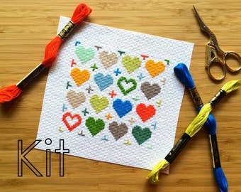 Cross stitch kit, cross my heart, counted cross stitch DIY kit
