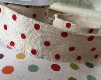 Burlap ribbon, fringed, red spots, 38mm, by 1m lengths