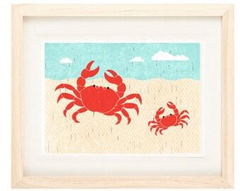 Crabs Summer Illustration Beach Print for Nautical, Beach, Coastal Theme Decor, Nursery, Kitchen, Living Room Wall Art