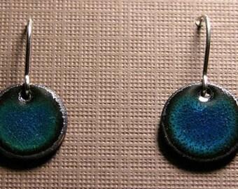 Short Dangle Earrings, Blue Copper Enamel Drop Earrings, Sterling Silver French Hook Earwires, Marine Blue, Handmade Earrings