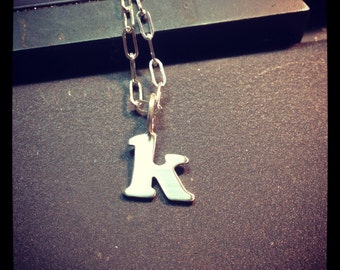 Sterling silver Initial on a Chain- ONE sterling necklace.  mothers day initial charms handmade