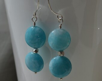 Blue Sponge Quartz and Sterling Silver Long Earrings Handmade