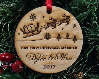 "Custom Christmas Ornaments Handmade - Our First Christmas Ornament - Christmas Gift for Newlyweds  - 1/4"" THICK - Alder Wood - SKU#302"