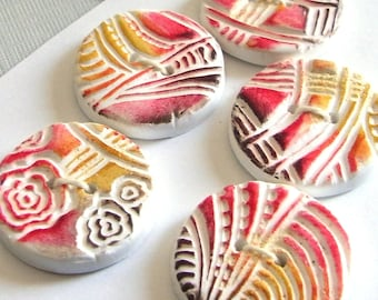 Handmade Textured Buttons Red Yellow Brown White  30mm