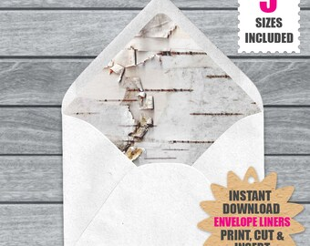 White Birch Bark Envelope Liners | Download And Print These White Birch Barck Rustic Woodland Printable Euro Envelope Liners .