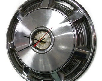 1973 - 1977 Chevy Monte Carlo Hub Cap Clock - 1974 1975 1976 Chevrolet Hubcap - Classic Car - Man Cave Wall Decor - Automotive Art