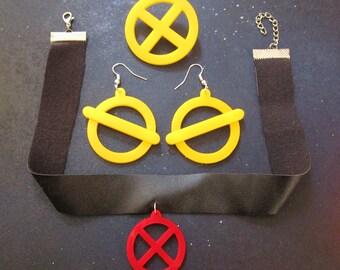 X-Men Jubilee Costume Accessory Cosplay Jewelry Set Earrings, x Logo Necklace & X-Men Brooch, Jubilee Cosplay, Jubilee Earrings