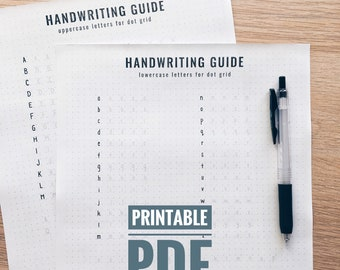 Handwriting Practice Guide for Journals and Planners (Uppercase & Lowercase Letters). Printable PDF. Dot Grid. (p001)