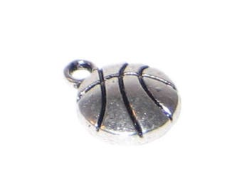 10 x 14mm Silver Basketball Charm - 4 charms