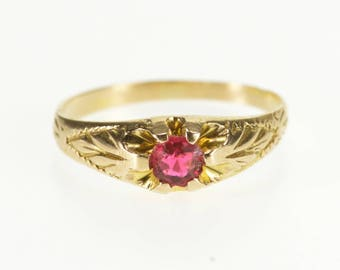 10k Child's Gypsy Set Pink Sapphire* Scroll Ring Gold