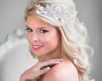 Wedding Hair Comb, Rhinestone Bridal Headpiece, Lace Bridal Headpiece, Lace Bridal Hair Accessory