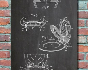 Tiolet Seat Patent Wall Art, Patent Print, Blueprint, Patent Poster, Plexity Prints #042