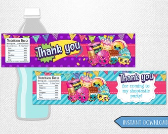 "Shopkins bottle labels, Shopkins water labels, Shopkins bottles, Shopkins labels! 8x2"" each."
