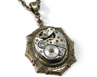 Steampunk Watch Necklace, Petite Clockwork Necklace, Antique Watch Movement, Brass, Steampunk Jewelry by Compass Rose Design