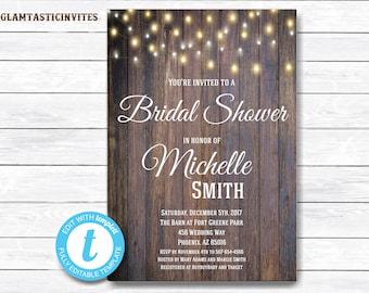 Rustic Bridal Shower Invitation, Rustic Invitation, Country Bridal Shower, Flower Invitation, Bridal Shower Invitation, INSTANT DOWNLOAD