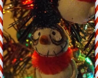 OOAK 1 Grimmy snowman ornament