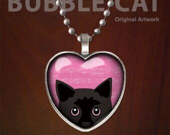 Peeking Black Cat Necklace, Pink Heart, Pink Background, Black Cat Pendant