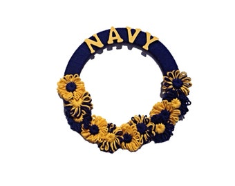 United States Navy Blue and Gold Naval Military Yarn Wreath, naval academy wreath