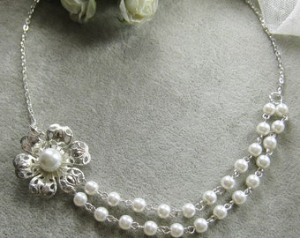 Filigree pearl necklace, bridesmaids necklace, bridesmaid gift bridal, wedding gift jewelry white ivory pearl - W026