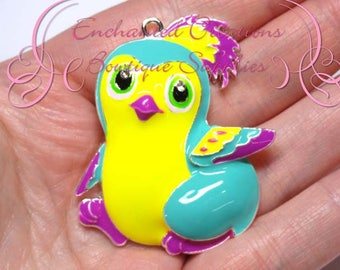 """2"""" Yellow and Teal Hatchimal Inspired Charm, Chunky Pendant, Keychain, Bookmark, Zipper Pull, Chunky Jewelry, Purse Charm, Planner Charm"""