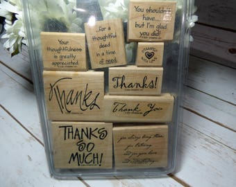 Many Thanks Stamp Set, Stampin Up Stamp Set, Rubber Stamps, Wood Mounted Stamp, Thank You Stamps