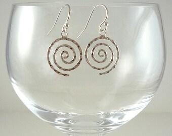 Silver Earrings Sterling Earrings Sterling Silver Earrings Silver Spiral Earrings Silver Drop Earrings Hammered Silver Earrings Silver Drops