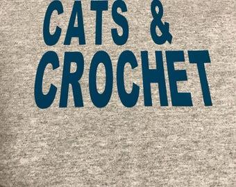 custom tshirt, coffee , cats and crochet shirt