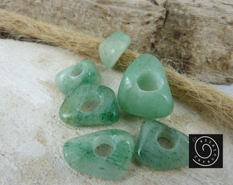 Dreadlocks Jewelry, Dreaperlen freeform green Aventurine drilled 2 pieces, Rastaperlen, dreadlock beads