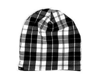 Black & White Plaid Beanie - Baby Beanie - Toddler Beanie - Baby Hat - Toddler Hat - Slouchy Beanie - Reversible Beanie - Baby Gift