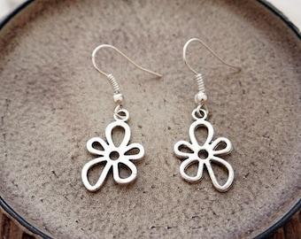 Silver Flower Earrings | Silver Cutout Earrings