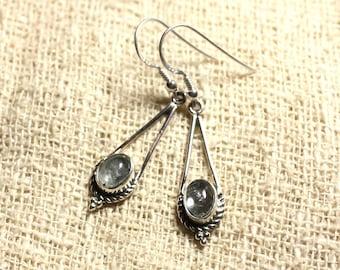 BO212 - 925 30mm Silver earrings - aquamarine oval 9x7mm