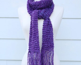 Purple knit scarf, royal purple scarf, ultra violet scarf, warm winter scarf, scarf with fringe, long scarf, mothers day gift