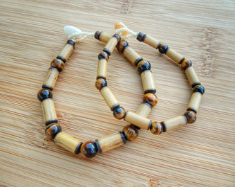 Kauai Bamboo Jewelry - Hawaiian Bamboo and Tigereye Bracelet
