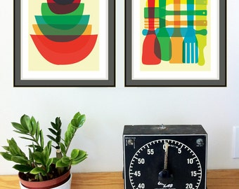 Giclee Mid Century Moden Style Kitchen Art Print Set - Bowl and Utensil Stack Mid Century Inspired Art Prints
