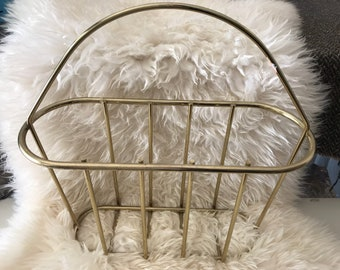 Brass Magazine Holder/Rack with Wire Cage and Handle/Midcentury/1970s/Hollywood Regency Decor / Vintage
