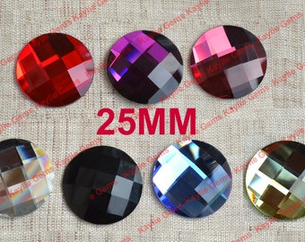 New - Mirror Glass Cabochon cab 25mm Round Checker Cut Faceted Dome -Pick Your Color- 2pcs