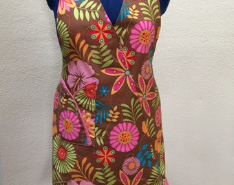 Apron, flower print, bright pink and brown