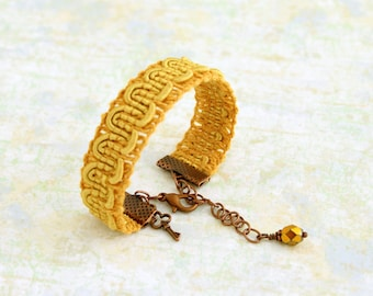 Yellow trim bracelet  - Mustard yellow ribbon bracelet with gold and copper accents - Yellow Bracelet -  Ribbon Jewelry